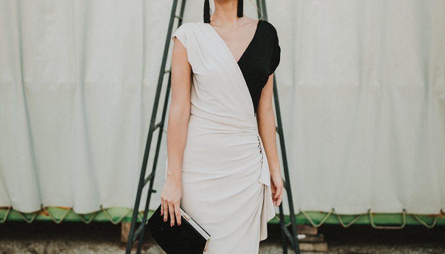 Vestido de invitada bicolor: Crudo y Negro.